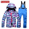High Quality Women Skiing Jackets Pants Snowboard Sets Thick Warm Winter Female Colored Printed Ski Suit