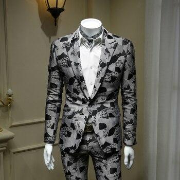 XM GEEKI Men's Fashion Grey Suit Jackets Mans Wedding Dress Suits Coat Black Suit British Style Jackets Gray Blazer 365wt42