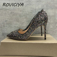 Black Glitter wedding shoes 12 cm high heel pumps sexy stiletto heels shallow party shoes for women 34 45 LF005 ROVICIYA