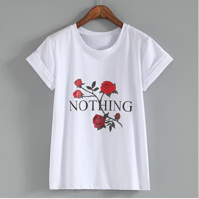 2018 Summer New Fashion Women T Shirts Short Sleeve Five roses print T-Shirts  Female