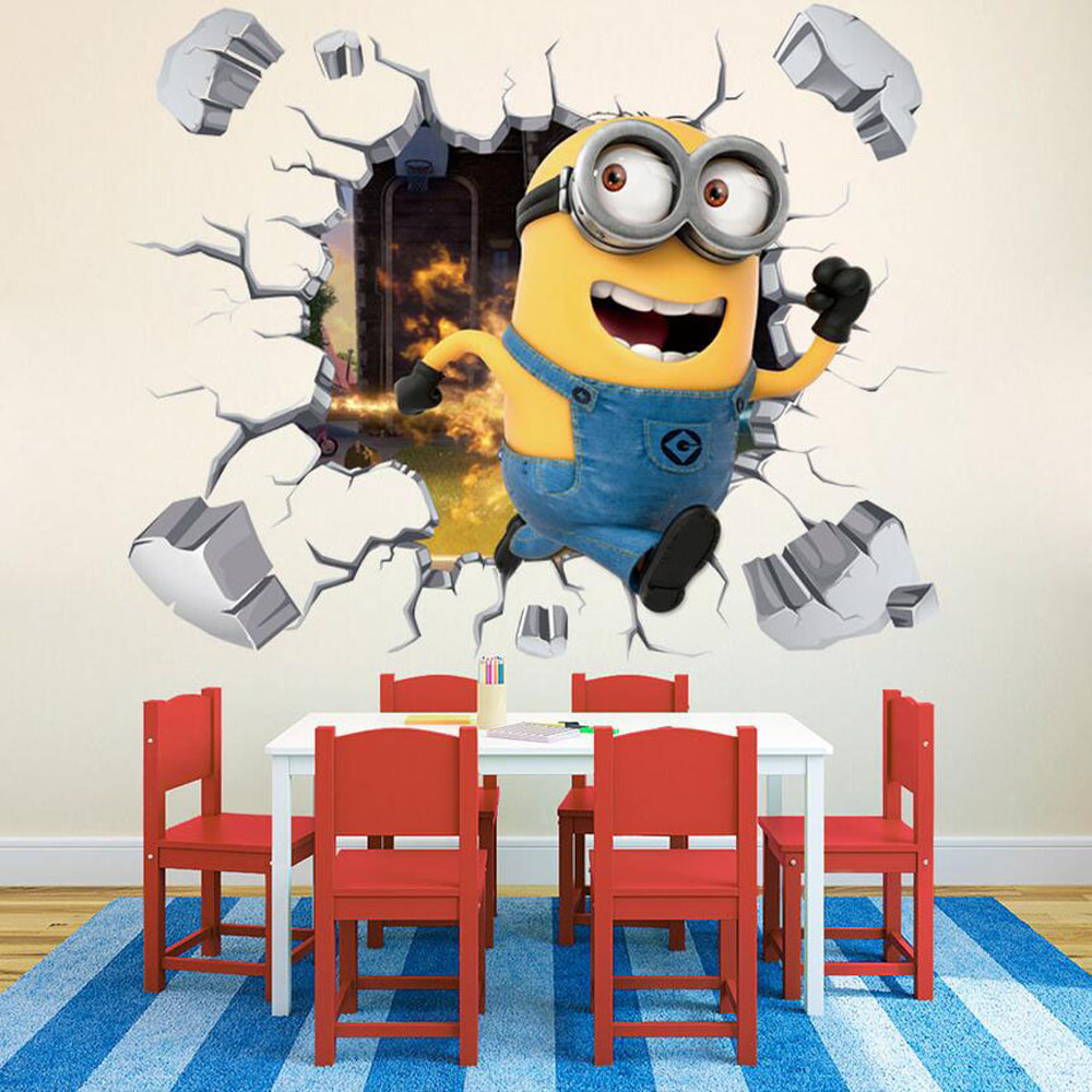 Kids Bedroom Wall Decor 3d Minion Sticker Removable Wall Pictures For  Living Room Art Baby Wall Decals