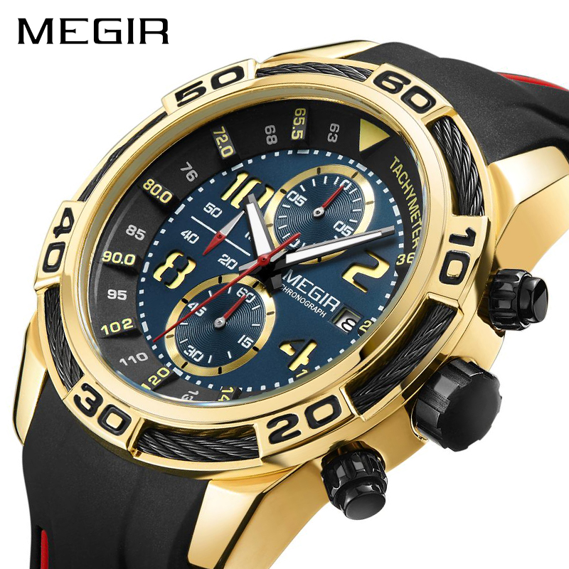 MEGIR Silicone Sport Watch Men Relogio Masculino Top Brand Luxury Chronograph Army Military Watches Clock Quartz MN2045 megir men sport watch chronograph silicone strap quartz army military watches clock men top brand luxury male relogio masculino