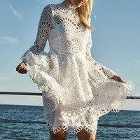 Women White/ Black Lace Hook Flower Hollow Out Mini Dress Long Flare Sleeve Ruffle Dress