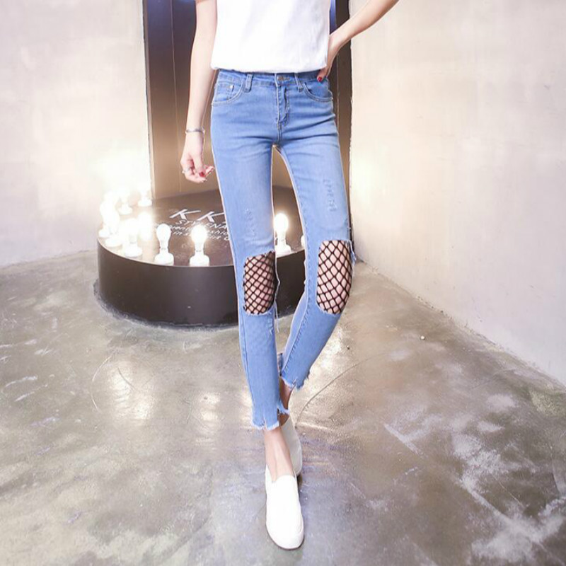 2017 summer Fashion casual sexy hole cotton Tight skinny Elastic female women girls ankle length pants