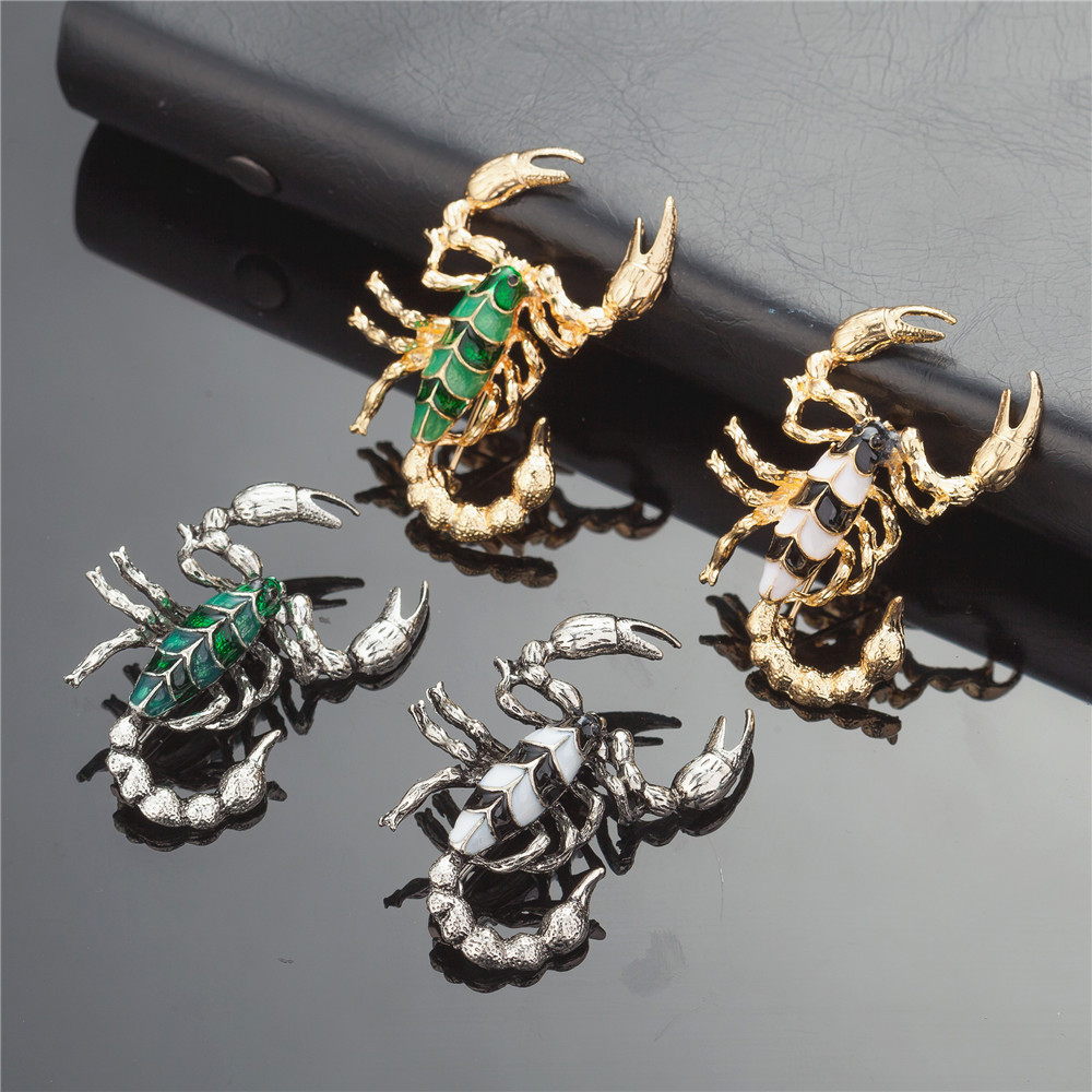 WNGMNGL 2018 New Arrival Bohemia Mix Colors Scorpion Brooch For Women Trendy Vintage Collar Pin Corsage Shirt Dress Jewelry in Brooches from Jewelry Accessories
