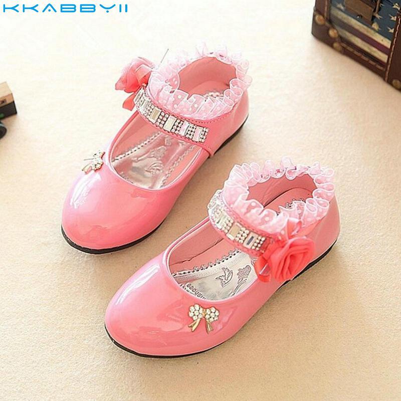 KKABBYII Spring Autumn Fashion Girls Shoes Patent PU Leather Shoes Rhinestone Beading Floral Lace Princess Kids Single Shoe
