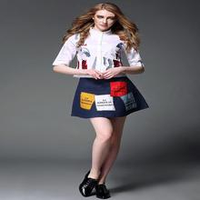 European spring new women embroidered collar shirt + Letter jeans skirt suit