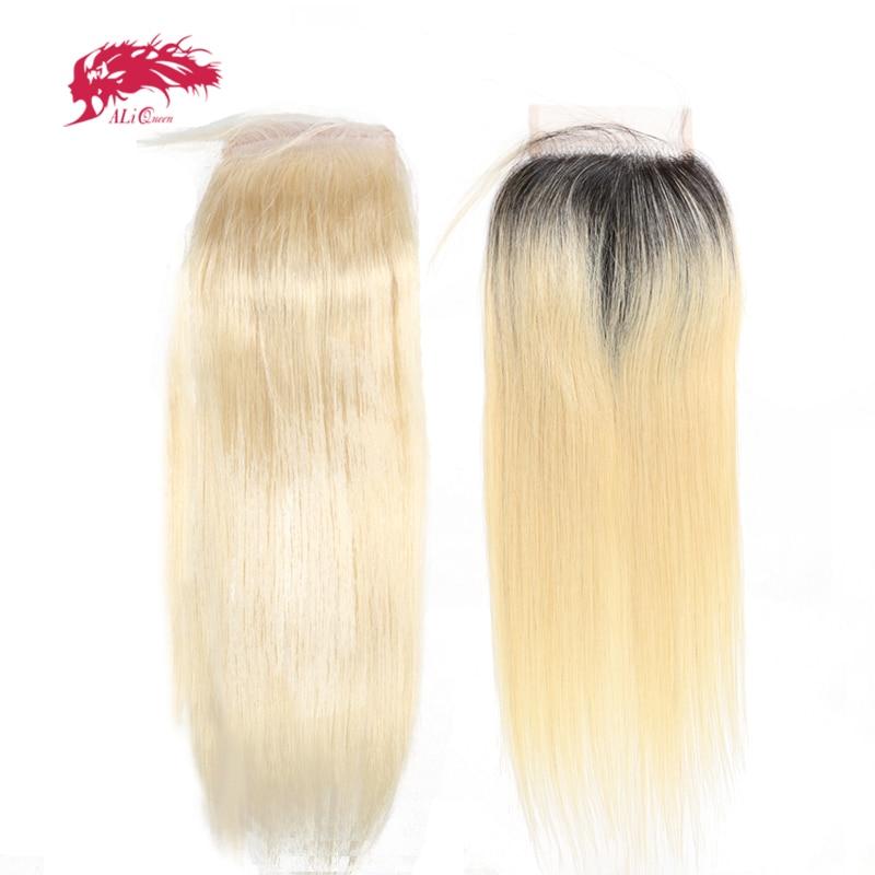 Ali Queen Hair Products Brazilian Virgin Hair 613 or 1b613 Lace Closure Straight Hair Closure 4X4