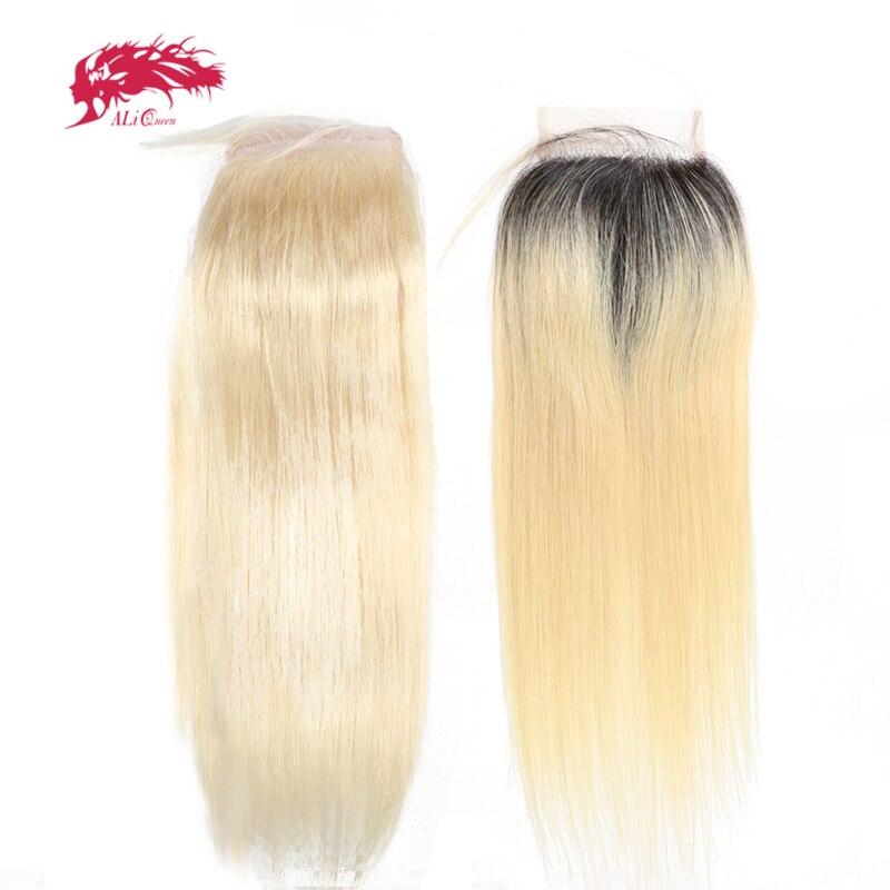 Ali Queen Hair Brazilian Virgin Hair 613 Or 1b613 Lace Closure Straight Hair Closure Pre-Plucked 4X4 Free Part 130% Density