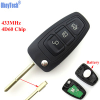 OkeyTech 3 Buttons 433Mhz Flip Remote Key Fob With Chip 4D60 For Ford Focus Mk1 Mondeo
