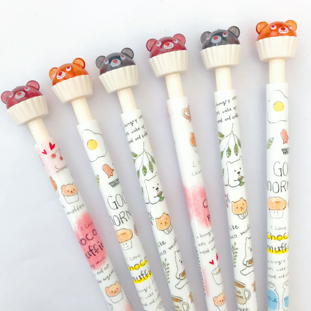 3X Kawaii Cup Cake Bear Press Mechanical Automatic Pencil Writing Drawing School Office Supply 0.5mm