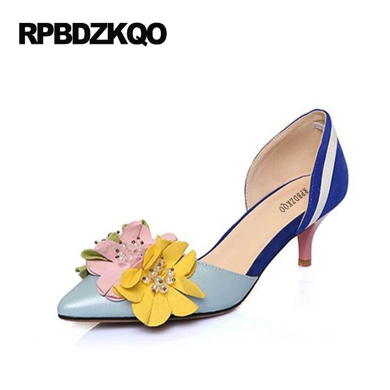 new style 42ce8 0aec3 US $44.61 36% OFF|Frauen Schuhe Spitz Catwalk High Heels Wildleder Floral  D'orsay Sommer Sandalen Blume Kleid Bunte Dünne Pumpen Royal Blau-in ...