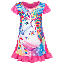 AmzBarley Girls Cartoon Unicorn Nightgown Toddler Cotton Printing nightgowns Short Sleeves sleepwear kids summer home wear