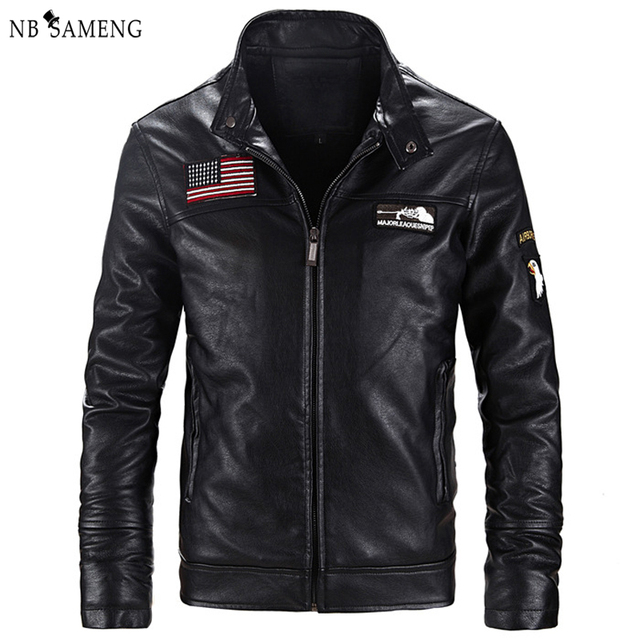 2016 New Fashion Motorcycle PU Leather Jacket Men Slim Fit Short Style Jackets Khaki Black Mandarin Collar Korean  Coat nswt3005
