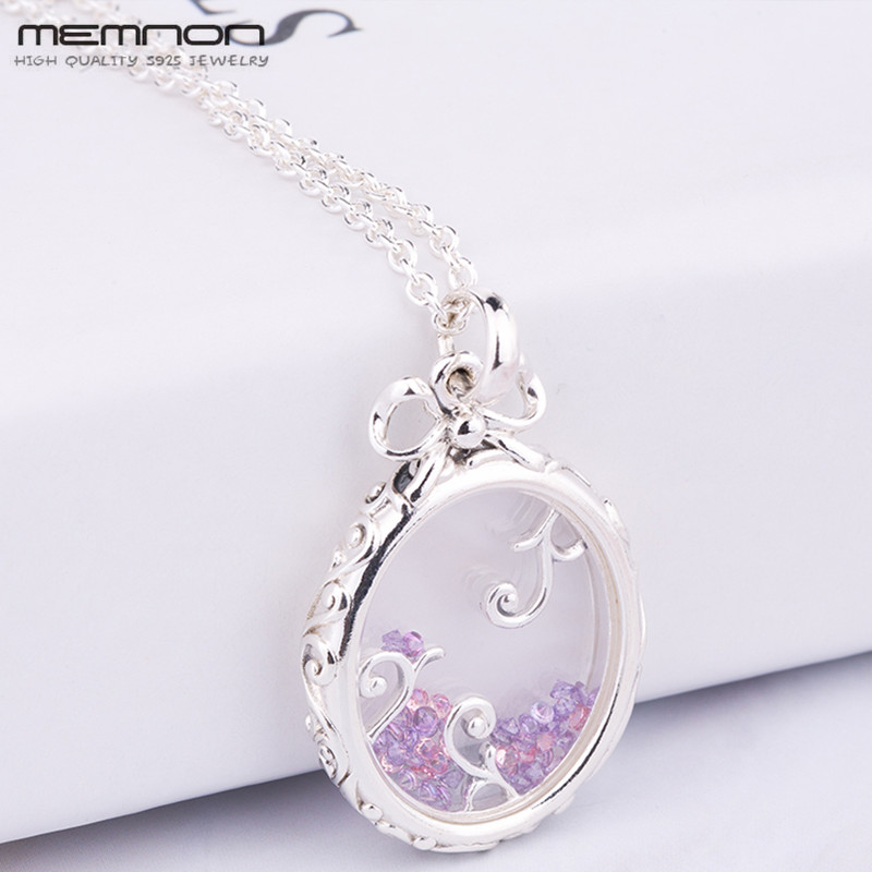 Memnon sterling silver Locket of Dazzle pendant necklaces for women 925 sterling silver link chain necklace silver 925 jewelry locket