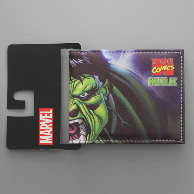 Wallets Avengers Superhero HULK Wallet Short Leather Men's Wallet Bi-fold Green Giant HULK Purse Money Bag