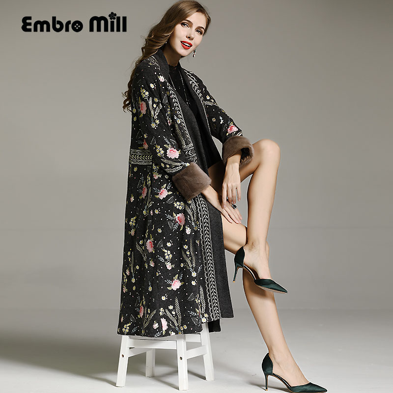 Embro Mill Autumn Winter Trench Coats For Women Vintage Elegant Woolen Embroidery Floral Loose Lady Warm Overcoat Female M-XXL