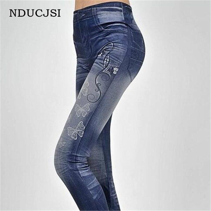 NDUCJSI Butterfly Print Faux Denim Jeans Women Fashion Stretchy Leggings Slim Hot Sale Skinny Jeggings Pants Bottoms Legging