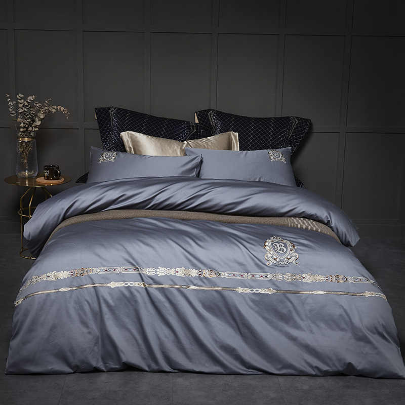 100% Cotton percale bedding sets 4pcs silver grey duvet cover set delicate embroidery satin bed linen euro double 200cm King 240