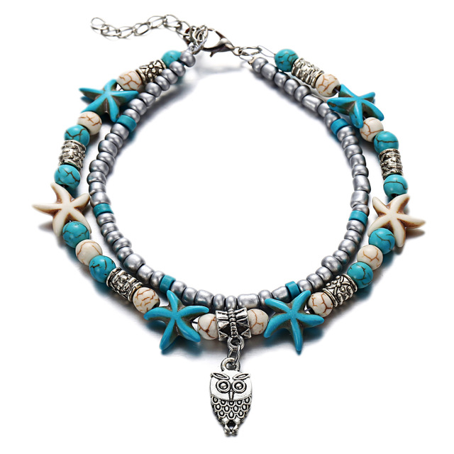 Vintage tobillera Shell Bead Starfish Sea Turtle Anklets For Women New Multi Layer Anklet Leg Bracelet Handmade Bohemian Jewelry 2