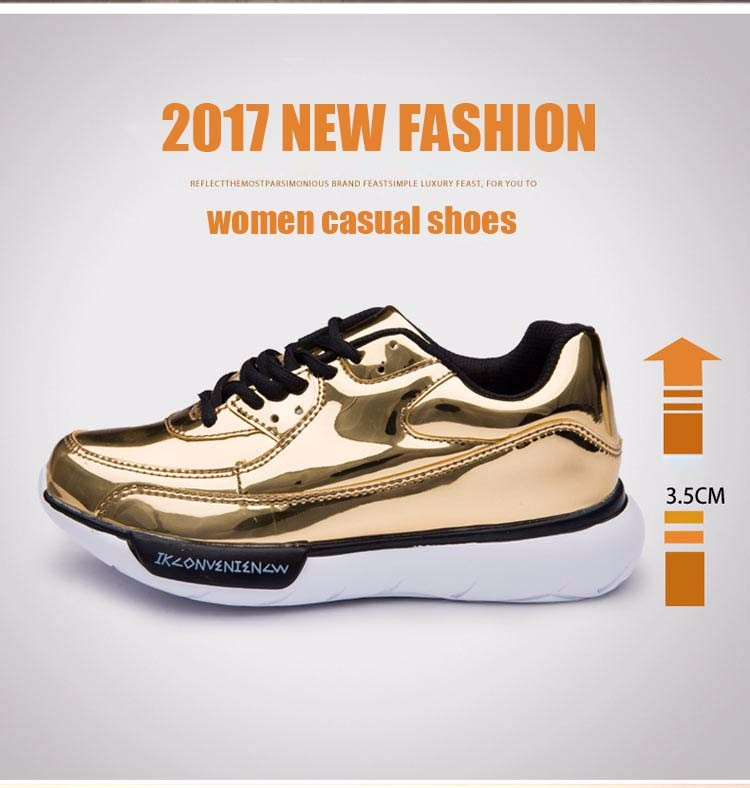 Mirror Surface Women 90 Casual Shoes Fashion Spring Lace Up Platform Womens Shoes Low Top Lace Up Trainers Women Gold Shoes YD52 (2)