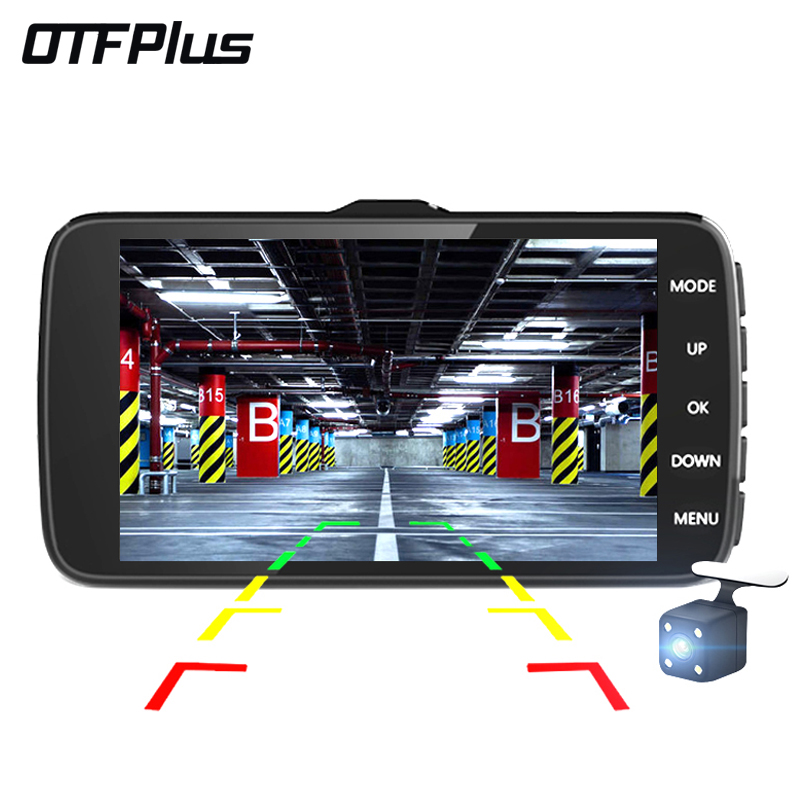 OTFPlus Car DVR 4.0 inch IPS Screen Dual Lens HD 1080P Night Vision G-sensor dash cam free shipping bigbigroad for nissan qashqai car wifi dvr driving video recorder novatek 96655 car black box g sensor dash cam night vision