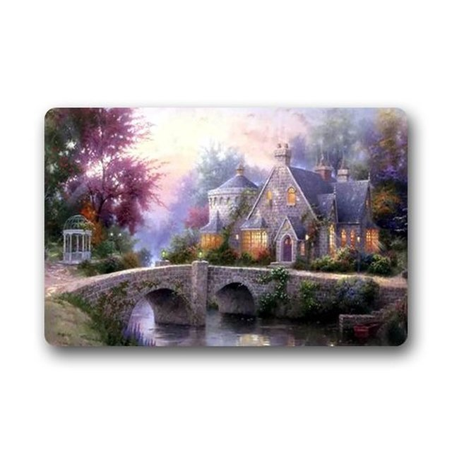 Memory Home Thomas Kinkade Art Custom Outdoor Indoor Doormat Personalized Design Machine Washable Kitchen Rugs