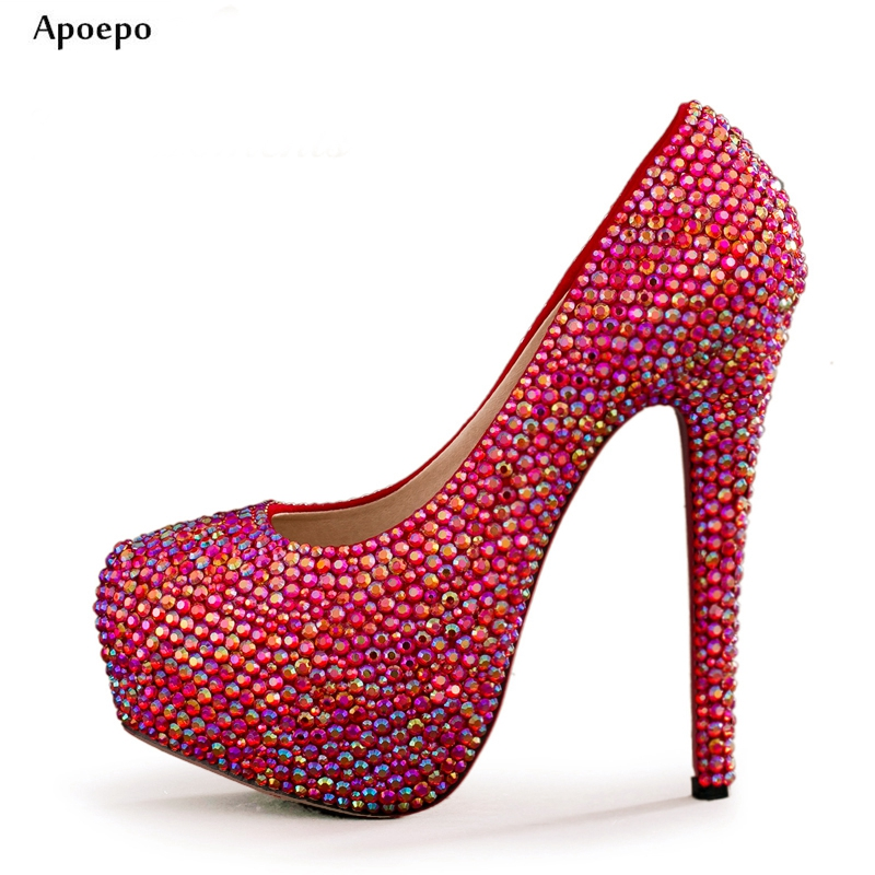 New 2018 Fashion Bling Bling Crystal Embellished Wedding Heels Sexy Platform High Heel Shoe for Woman Red Rhinesones Pumps new 2018 new fashion sexy pointed toe thin heels shoes bling bling glitter embellished ankle starp high heel shoe 16cm pumps