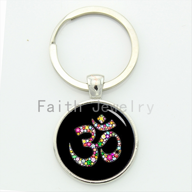 Om Ohm Aum Namaste Yoga Symbol key chain charming bright colorful om logo keychain pretty Indian style women jewelry gift KC481