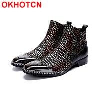 Мужские зимние ботинки из натуральной кожи с металлическим декором, обувь в стиле пэчворк, Botas Nieve Hombre, обувь с высоким берцем, мотоциклетные