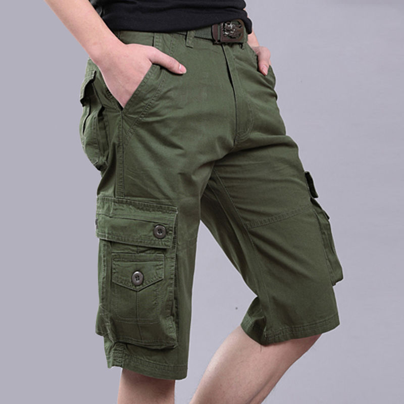 Military 6 Pocket Cargo Shorts Men 100 Cotton No Fading Loose Casual Knee length Summer Short in Casual Shorts from Men 39 s Clothing