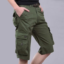 Military 6 Pocket Cargo Shorts Men 100% Cotton No Fading Loose Casual Knee length Summer Short