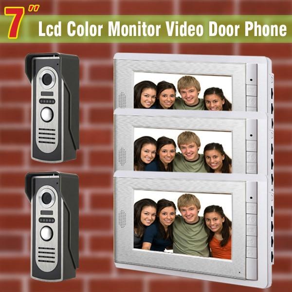 7 inch video door phone intercom doorbell wired home intercom video doorphone intercom doorbell intercom 3 Monitor 2 Camera
