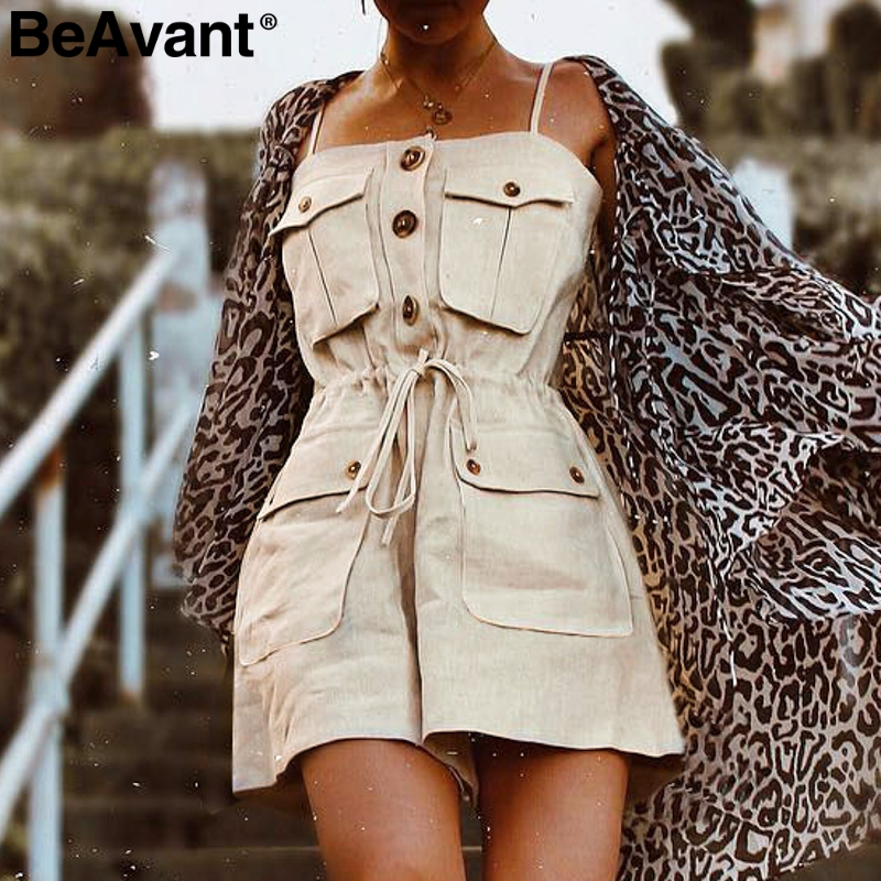 BeAvant Casual strap women romper   jumpsuit   Female button pocket   jumpsuit   summer dungaree Loose cotton short overalls combishort