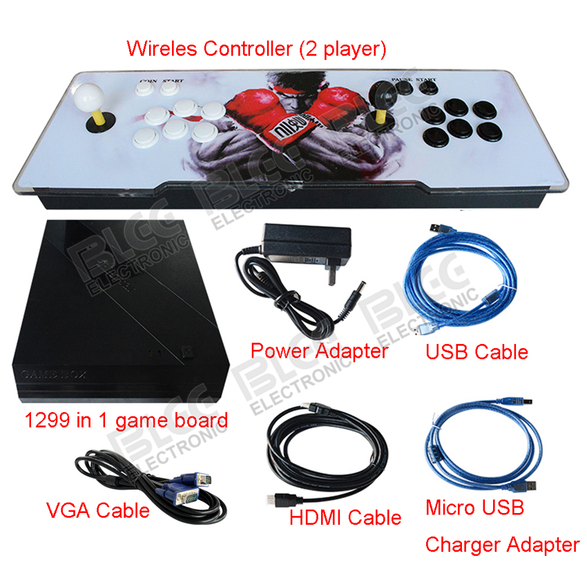 New Box 6S 1388 in 1  Wireless Arcade Stick for 2 players wifi arcade game console with arcade button joystick VGA HDMI output