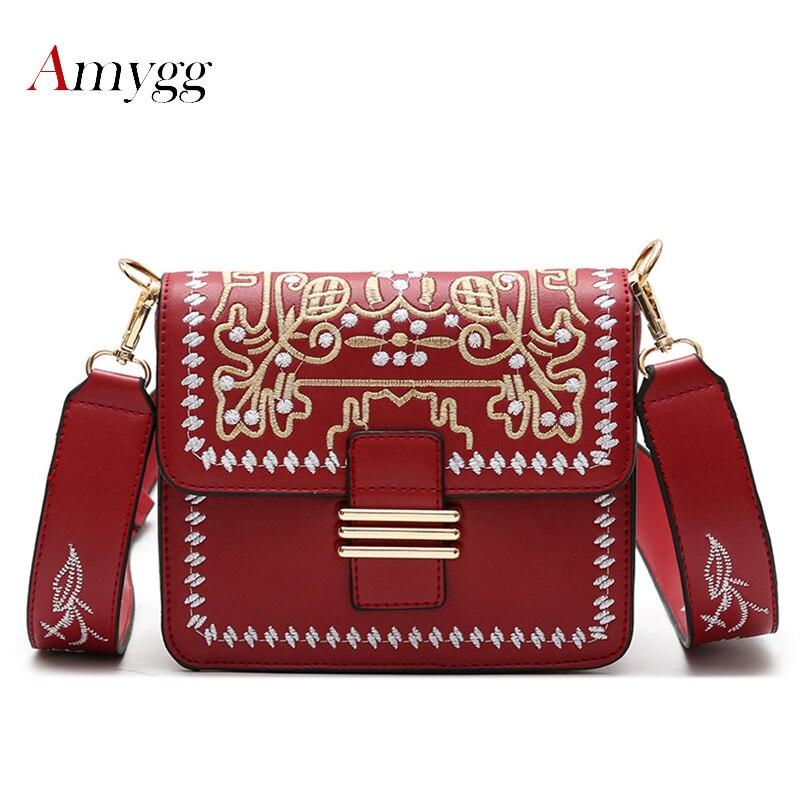 AMYGG National Style Floral Embroidery Women Shoulder Bag Rivets Patch Saddle Bag Solid Color Mini Hasp Bag Pu Leather Women Bag pu leather front zip floral shoulder bag