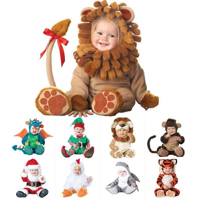 Macacão infantil cosplay de animais, fantasia de dia das bruxas para meninos e meninas, macacão para bebês, carnaval, 2020