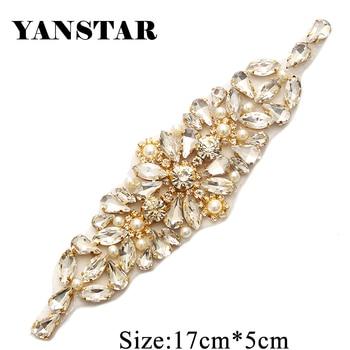 YANSTAR (30pcs) Wholesale Handmade Bridal Sash Rhinestones Appliques With Pearl Sewing On For Wedding Dress Belt YS892