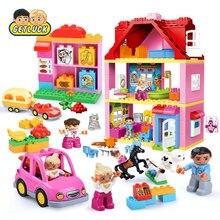 Купить с кэшбэком GETLUCK City Girl Princess Figure Family Colourful Kids Horse Compatible With Duploe DIY Building Block Baby Toys Gift