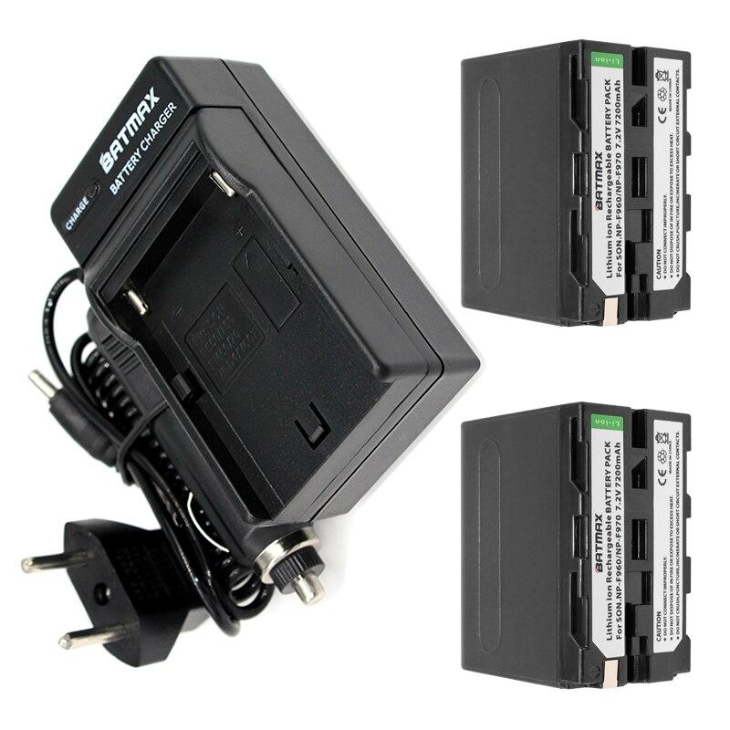Prix pour 2-PACK 7200 mAh NP-F960 NP-F970 Batterie Pack + Chargeur De Voiture & Plug Power Adaptateur pour Sony NP-F770 NP-F750 F960 F970