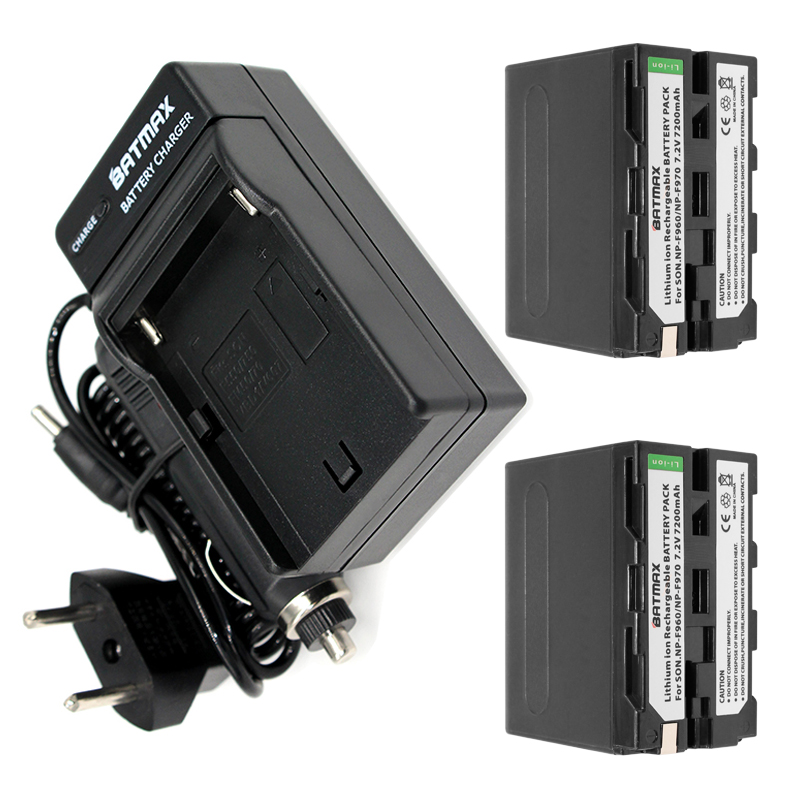 2-PACK 7200mAh NP-F960 NP-F970 Battery Pack + Car AC Charger Kits & Power Plug Adapter for Sony NP-F770 NP-F750 F960 F970