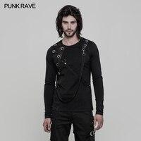 Punk Rave Men's T shirt Gothic Black Elastic Cotton Long Sleeves Steampunk Cool Tops Shirt Streetwear Personality T shirt