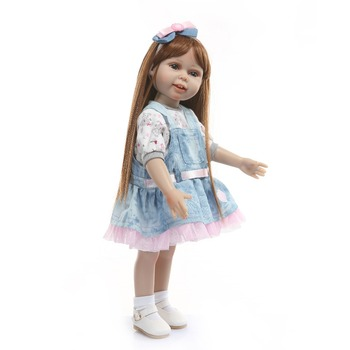18inch 45cm Full vinyl silicone girl American princess girl doll Realistic adorable menina doll bonecas babies doll brinquedos