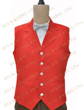 Halloween Costume Unique Red Single Breasted Victorian Steampunk Waistcoat