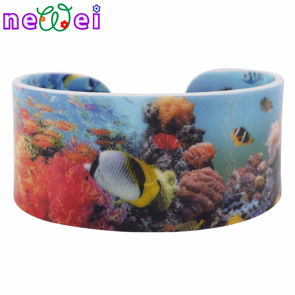 NEWEI Acrylic Coloful Marine Fish Pattern Wide Bracelets Bangles For Women News Ocean Collection Jewelry Accessories Gifts
