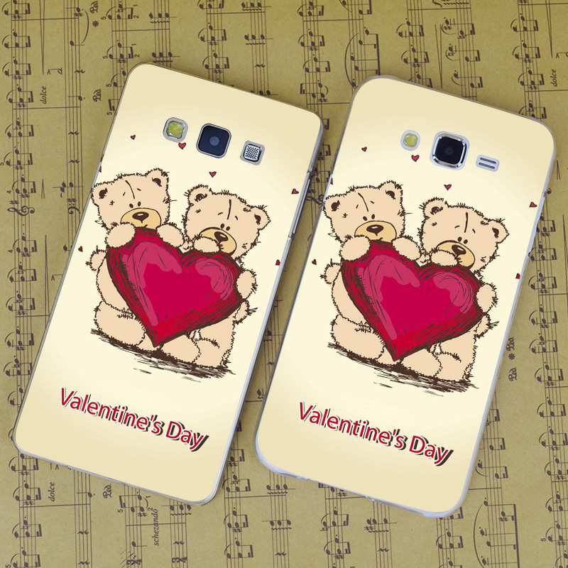 B4194 Valentinstag Teddybears Transparent PC Hard Case Für Samsung Galaxy J 3...