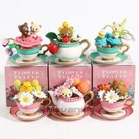Anime 6pcs/set Rilakkuma Bear with Colorful Flowers Tea Cups PVC Action Figures Tea set creativity Toys Mini Rilakkuma Bear Gift