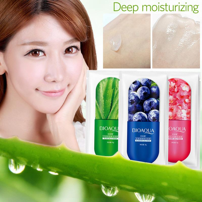 BIOAQUA 1pcs Moisturizing Facial Jelly Mask Sheet Deep Face Serum Whitening Moisture Essence Nutritious Cream Skin Care Women