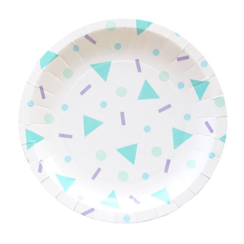 8pcs 7inch 8pcs 9inch Blue Triangle Pattern 400g White
