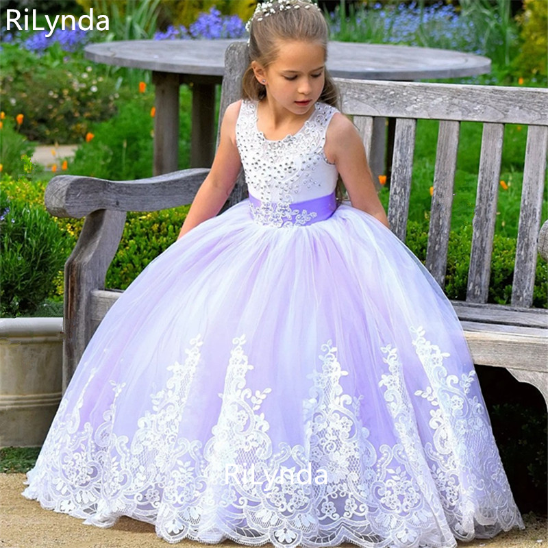 White Blue First Communion   Dresses     Girls   Water-soluble Lace Infant Toddler Pageant   Flower     Girl     Dresses   for Weddings and Party